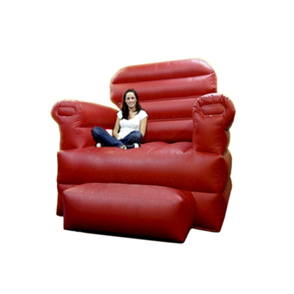 big red chair oversized for pictures