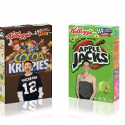 Photos imposed on cereal boxes