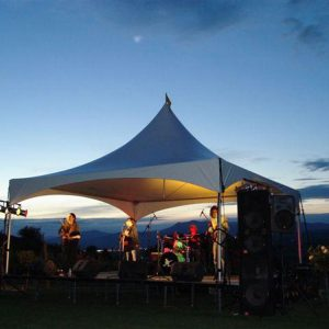 Tent for band to perform under