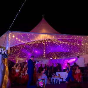 marque with rented tent